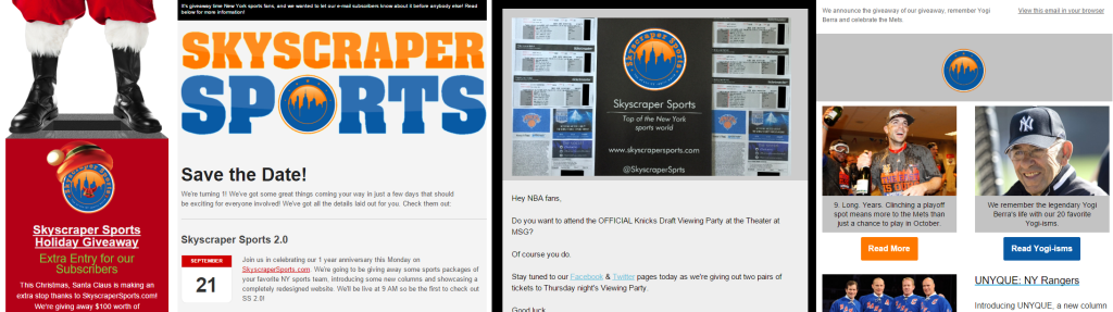 New York Sports Skyscraper Sports Newsletter Giveaway